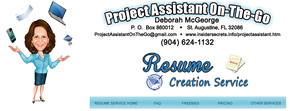 deborah mcgeorge project assistant on the go resume creation