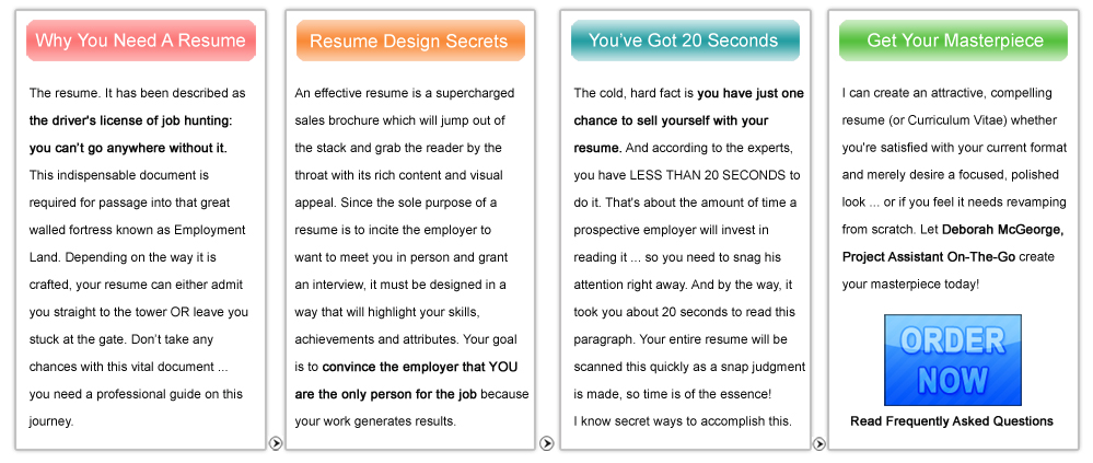 Deborah McGeorge: Project Assistant On The Go Resume Design    Why You Need  One  Go Resume